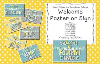 Aqua, Yellow, and Gray Welcome Poster or Sign