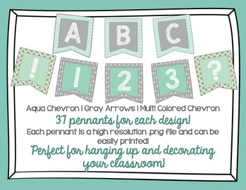 Aqua and Gray Pennants | All Letters, Numbers, and 2 Symbo