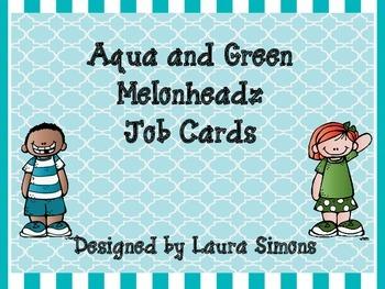 Aqua and Green Melonheadz Job Cards Set 2