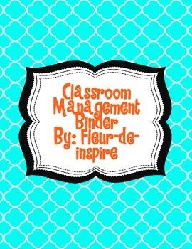 Aqua and Orange Quartrefoil Classroom Management Binder Dividers