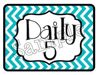 Aqua and Pink Daily 5 Signs