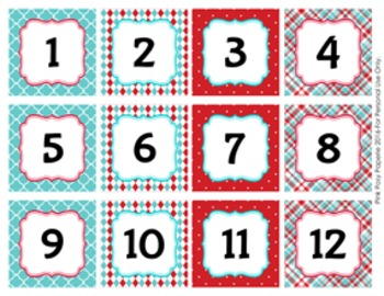 Aqua and Red Classroom Decor Monthly Calendar Numbers