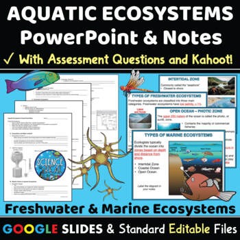 Aquatic Ecosystems Interactive PowerPoint, Guided Notes, &