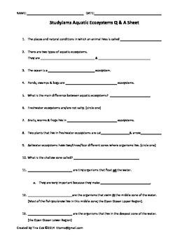 Aquatic Ecosystems Q & A - StudyJams