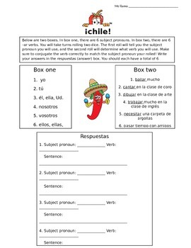 Ar verb conjugation game-  Chile