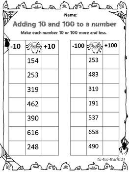 Arachnid Adding and Subtracting 10, 20, 100, 200