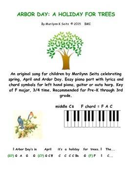 Arbor Day - A Holiday for Trees. Easy piano & lyrics about