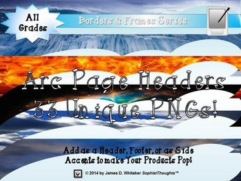 Arc Page Headers Clip Art Bundle Frames, Borders, Edges