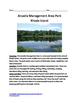 Arcadia State Park - Rhode Island - Informational Article