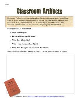 Archaeologist Classroom Artifact Worksheet