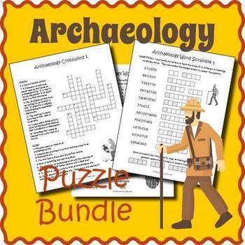 Archaeology Activities: Archaeology Vocabulary Puzzle Bundle