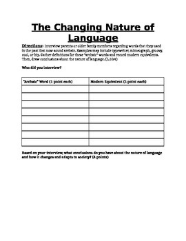 Archaic Language Worksheet: Good for Shakespeare