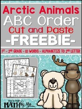 Arctic Animals ABC Order Cut and Paste FREEBIE: Level 2