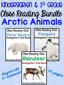 Arctic Animals Close Reading BUNDLE for Kindergarten and F