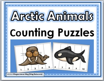 Arctic Animals Counting Puzzles Numbers 1-10 - Winter Activity