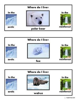 Arctic-Rainforest Animal Habitat/Clothespin Task/Cut & Pas