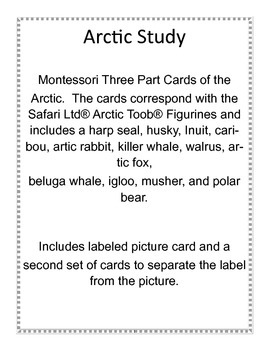 Arctic Study,  Montessori 3-part cards
