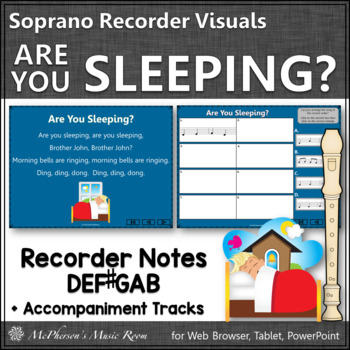 Are you Sleeping? - Recorder PowerPoint Visuals (Notes DEF#GAB)