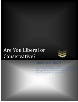 Are you a Conservative or a Liberal Classroom Activity
