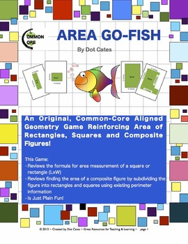 Area Go Fish!  A Common Core Aligned Geometry Game: Gr. 3-5