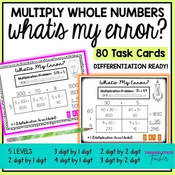 Multi Digit Multiplication Error Analysis Task Cards