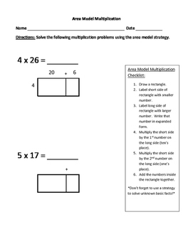 Area Model Multiplication Practice with Checklist