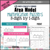 Multiplication: Area Model Puzzlers, 3-Digit by 1-Digit