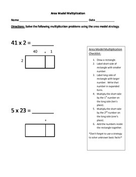 Area Model Multiplication with Checklist SAMPLE