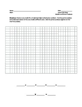Area Models and Partial Products Worksheet - 4th Grade Go