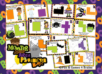 "Area & Perimeter - Halloween themed ""Monster Mash Area/per"