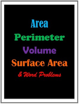 Area, Perimeter, & Volume (23-page PACKET)