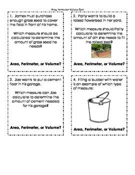 Area, Perimeter, or Volume Sort