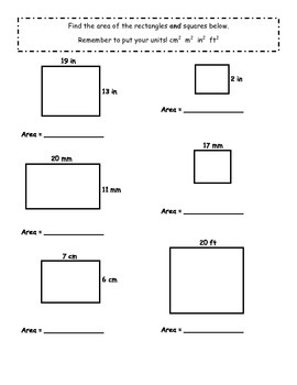 Area- Squares and Rectangles