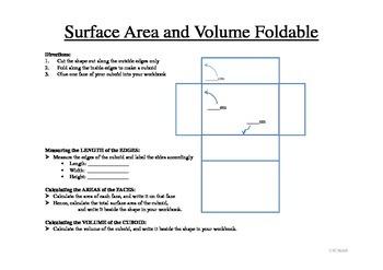 Area, Surface Area and Volume Foldable