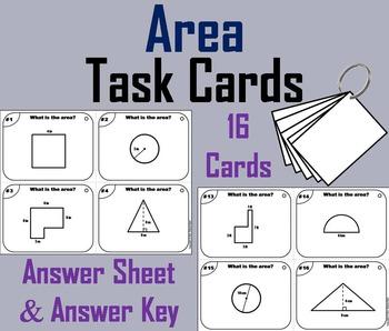 Measuring Area Task Cards/ Finding Area Task Cards/ Measur