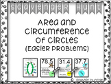 Area and Circumference of Circles Scavenger Hunt (easier p