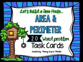 Area and Perimeter  20 WORD PROBLEM Task Cards Math Center