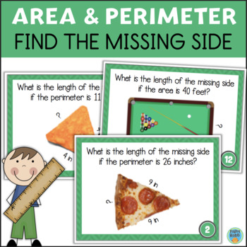 Area and Perimeter Task Cards - Find the Missing Side