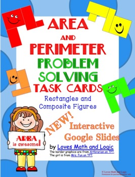 Area and Perimeter Composite Shape Task Cards  3.MD.C.7.D