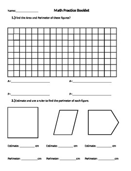 Area and Perimeter, Estimating, Measuring, Grid paper, Dot