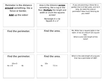 Area and Perimeter Interactive Notebook Foldable