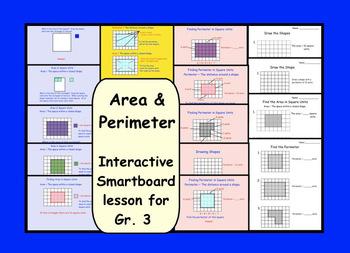 Area and Perimeter:  Interactive Smartboard Lesson for Gr