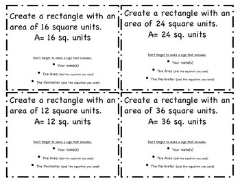 Area and Perimeter: Minecraft task cards