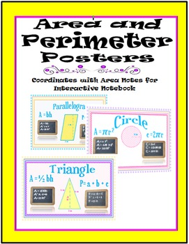 Area and Perimeter Posters-Coordinate with Area Notes for