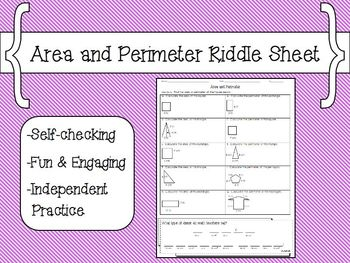 Area and Perimeter Riddle Sheet