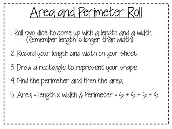 Area and Perimeter Roll  FREEBIE