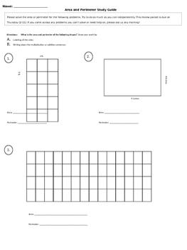 Area and Perimeter Study Guide