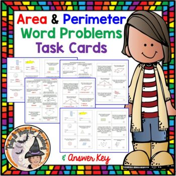 Area and Perimeter Geometry Word Problems Task Cards
