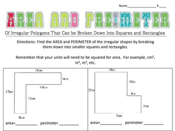 Area and Perimeter of Irregular Polygons (made of squares/