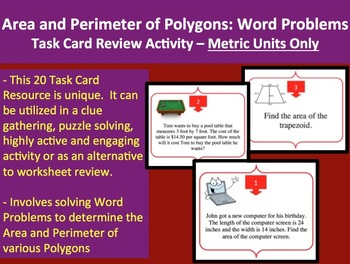 Area and Perimeter of Polygons Word Problem Task Card REVI
